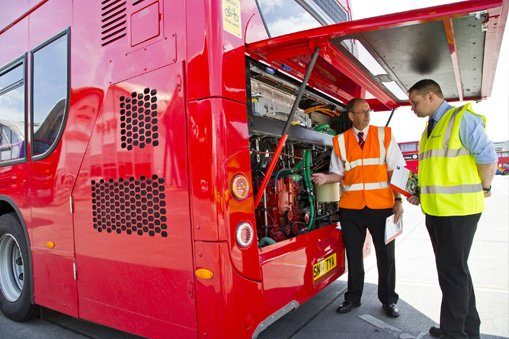 european bus being inspected