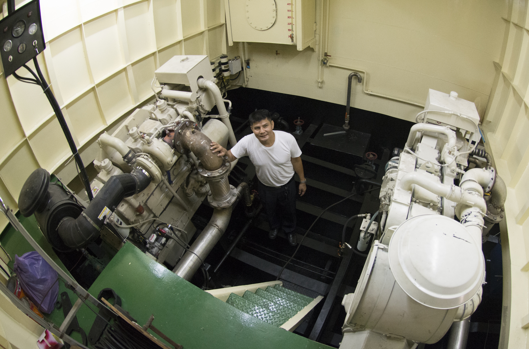 port-site engine room with a 600 HP Cummins KTA19-M main engine