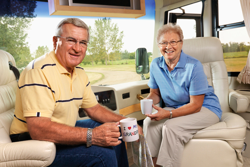 retired couple in motorhome