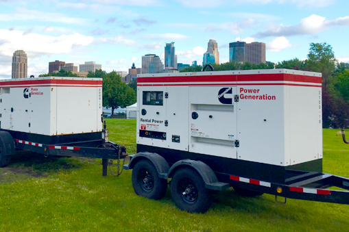 rental generators on trailers at location