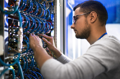 technician working in data center