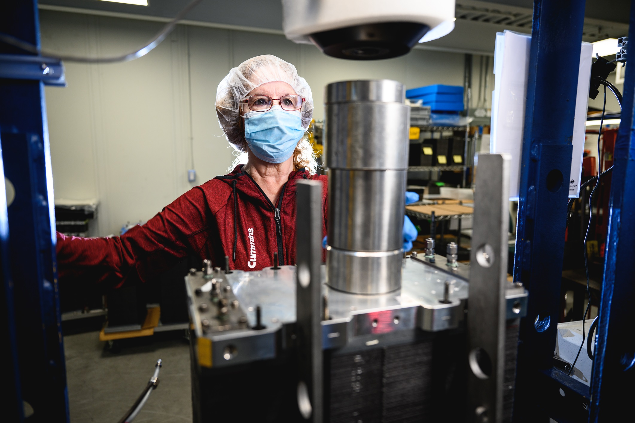 An employee works at the Cummins Mississauga Fuel Cell & Hydrogen Technologies facility in Ontario, Canada. The facility builds low-carbon fuel cells for multiple applications and electrolyzers that produce hydrogen.