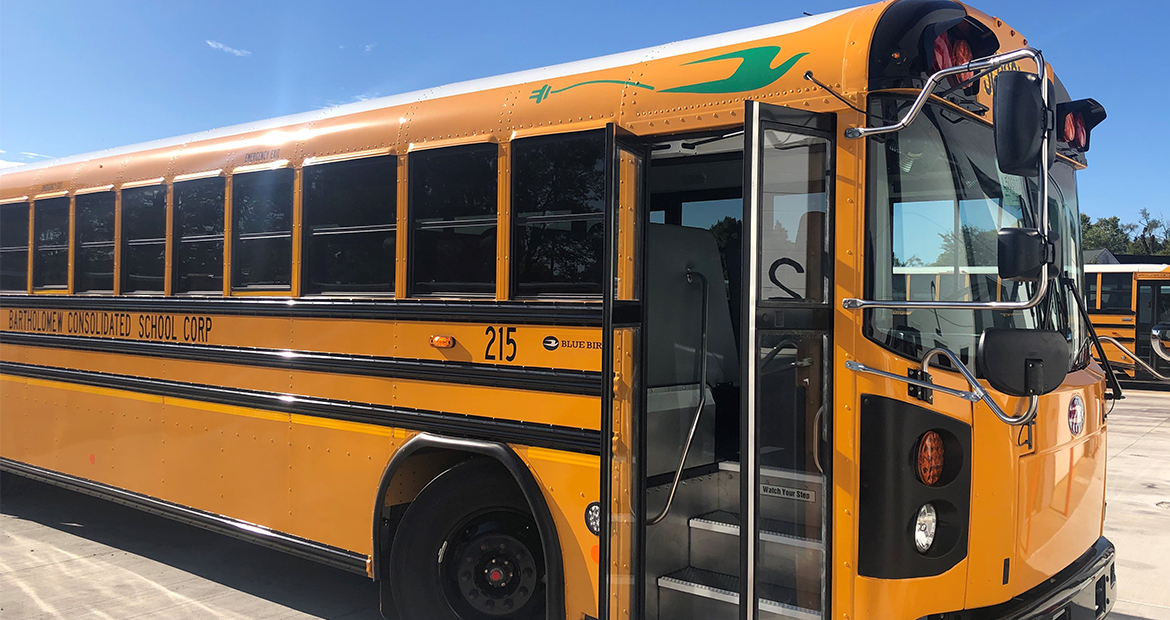Bartholomew Consolidated School Corporation receives a Blue Bird electric school bus