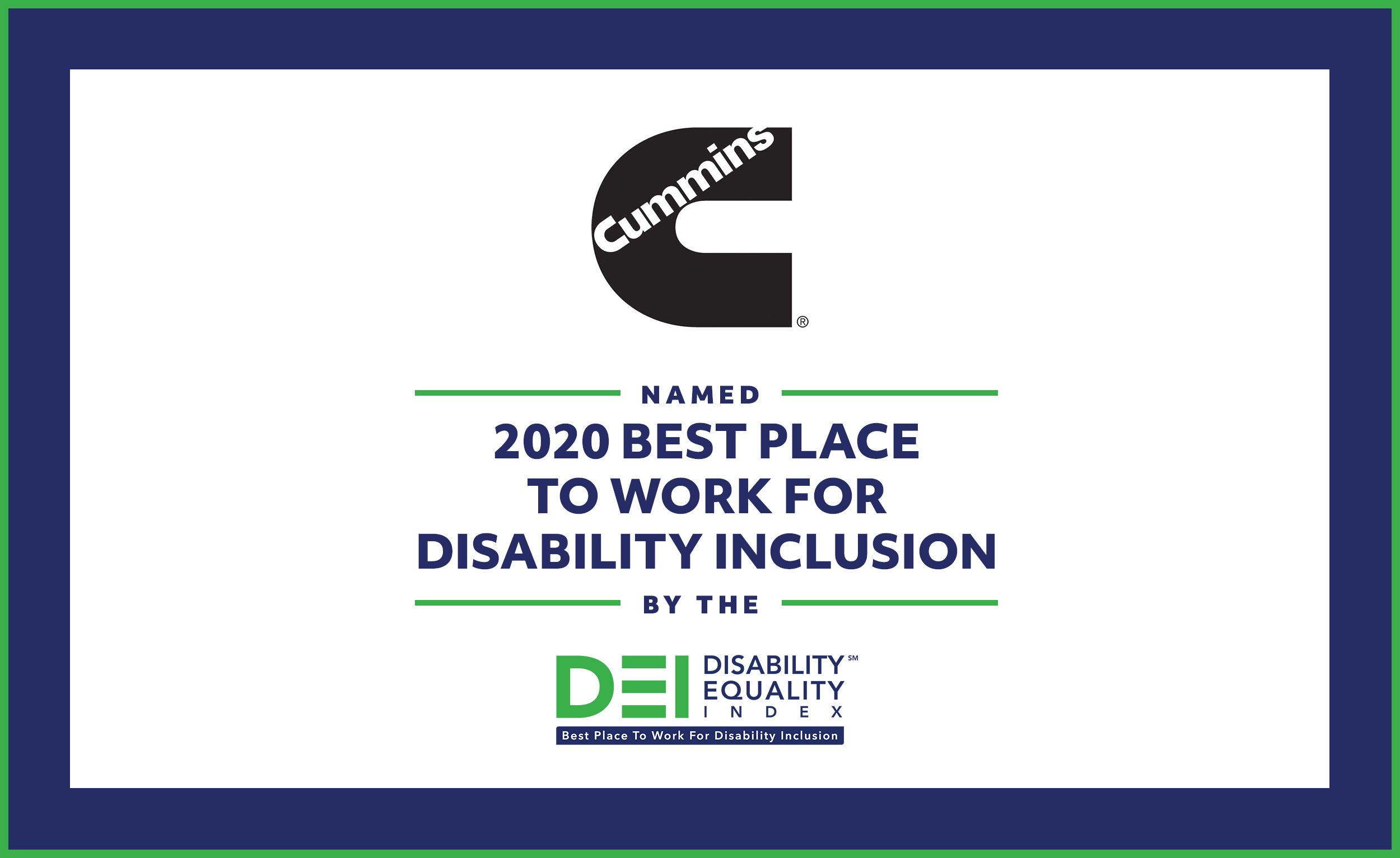 Cummins has been named a Top-Scoring Company on the 2020 Disability Equality Index® (DEI)