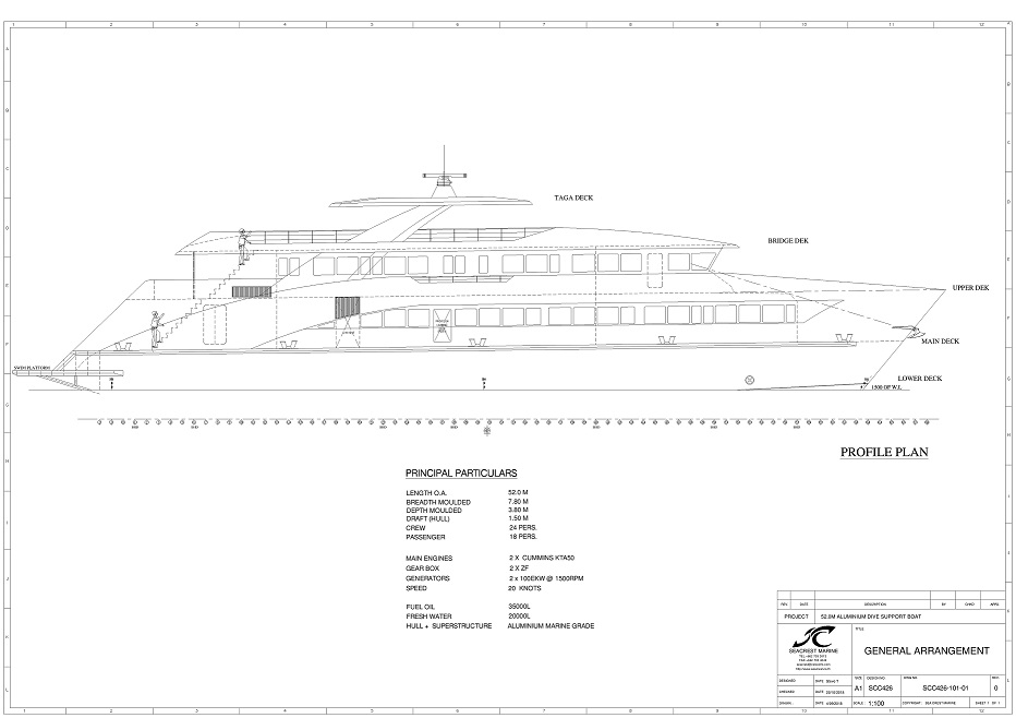 A profile line drawing of the dive support vessel.
