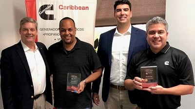 Legendary Sales Award winners Rafael Mitchell, second from left, and Ricardo Diaz, far right, are joined by David Hagewood, Vice President - Power Generation, far left, and Nabil Contreras, Caribbean Commercial Sales Director, second from right.