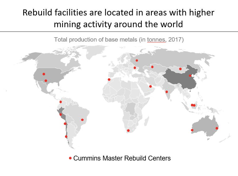Rebuild facilities are located in areas with higher mining activity around the world