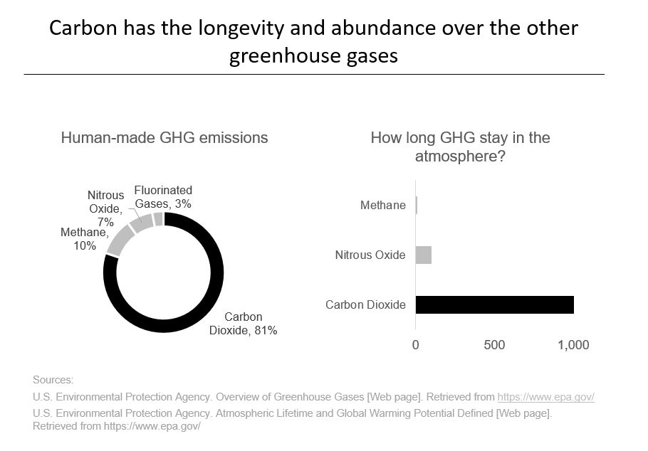 Carbon has the longevity and abundance over the other greenhouse gases