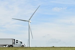 A truck passes through the Meadow Lake Wind Farm.