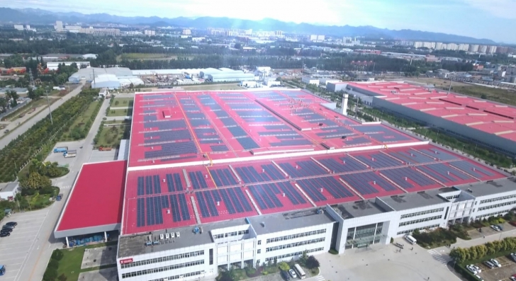 The Beijing Foton Cummins Engine Plant (above) in Beijing, China, is the largest of Cummins' 12 completed solar installations. Work will begin soon on the plant's second building (upper right).
