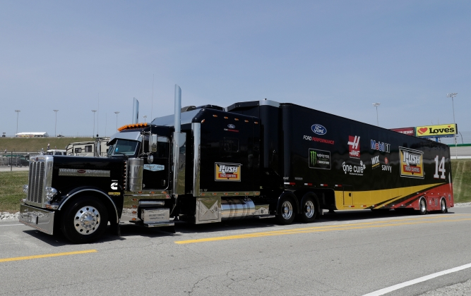 The hauler containing Clint Bowyer's No. 14 Ford depends on a Cummins engine to get the NASCAR team to its next race.