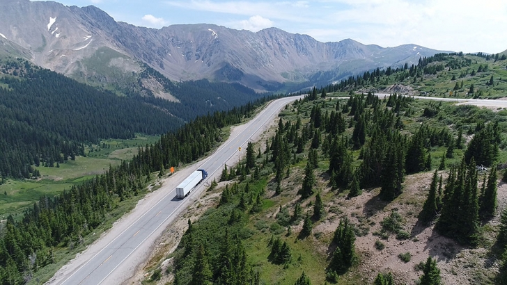 A validation team makes its way up a mountain road at Loveland Pass (6.7 percent grade at 11,990 feet), during testing of Cummins' X12 engine in Colorado (U.S.A.) earlier this year.
