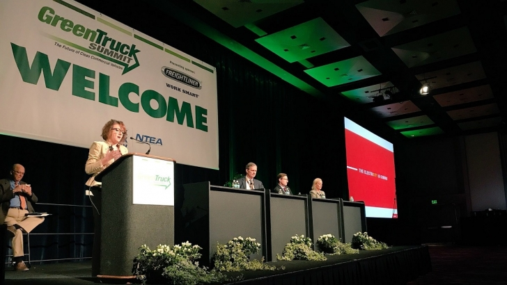 Executive Director of Electrified Power Julie Furber speaks at the Green Truck Summit in Indianapolis, Indiana (U.S.A.).