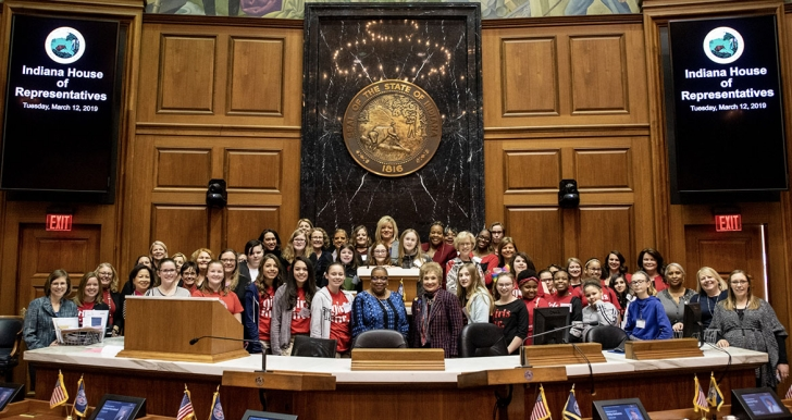 Girls Inc young women and Cummins leadership at the Indiana Statehouse