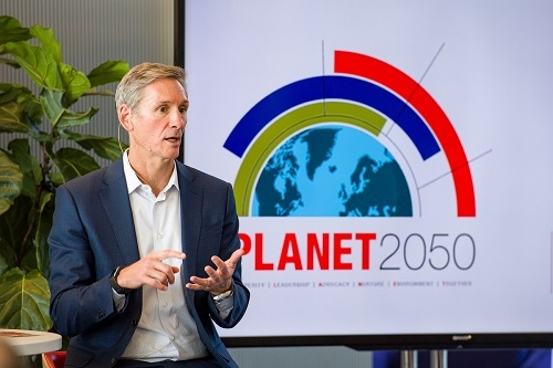 Cummins Chairman and CEO Tom Linebarger announces PLANET 2050, the company's environmental sustainability strategy, at a forum last month. The strategy is consistent with the company's efforts to do good in the communities where it does business.