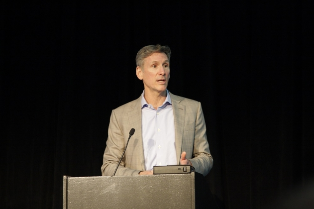 Cummins Chairman and CEO Tom Linebarger speaks to the American College of Preventive Medicine in Chicago.