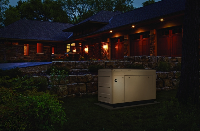 Image of generator set outside of home