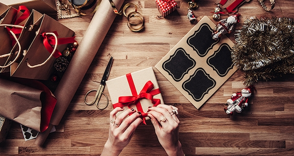 wrapping holiday gifts