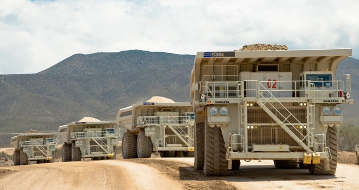 Convoy of mining vehicles