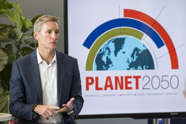 Cummins Chairman and CEO Tom Linebarger unveils Planet 2050 during a meeting with employees in the late fall of 2019.