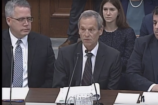 Dr. Wayne Eckerle, seated middle, testifies in front of the House Energy and Commerce Subcommittee on Environment and Climate Change in Washington, D.C.