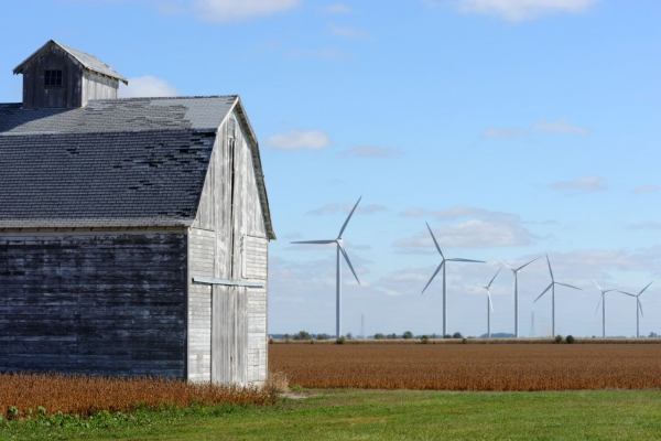 The Meadow Lake Wind Farm is in an ideal location in a nearly fully developed agricultural area.