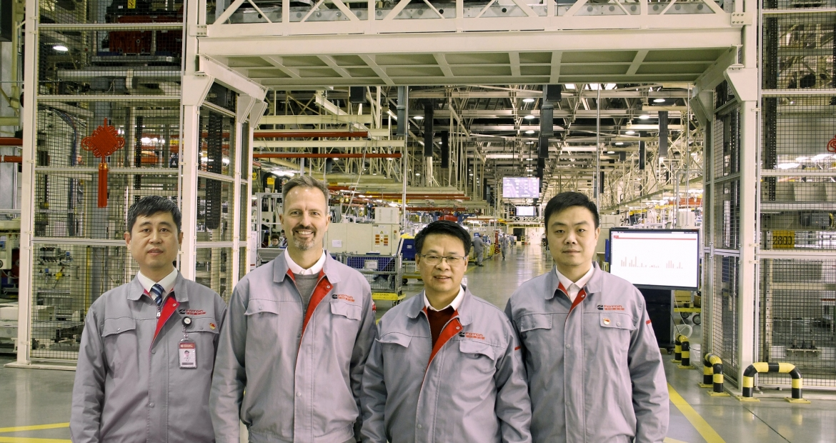 The Beijing Foton Cummins Engine Company is using technology to improve a host of issues from quality to customer satisfaction. The plant's leadership, left to right, includes Zhao He, Manufacturing Engineering Leader; Miguel Kindler, Plant Manager; Chen Hua, General Manager; and Silence Chen, IT Leader.