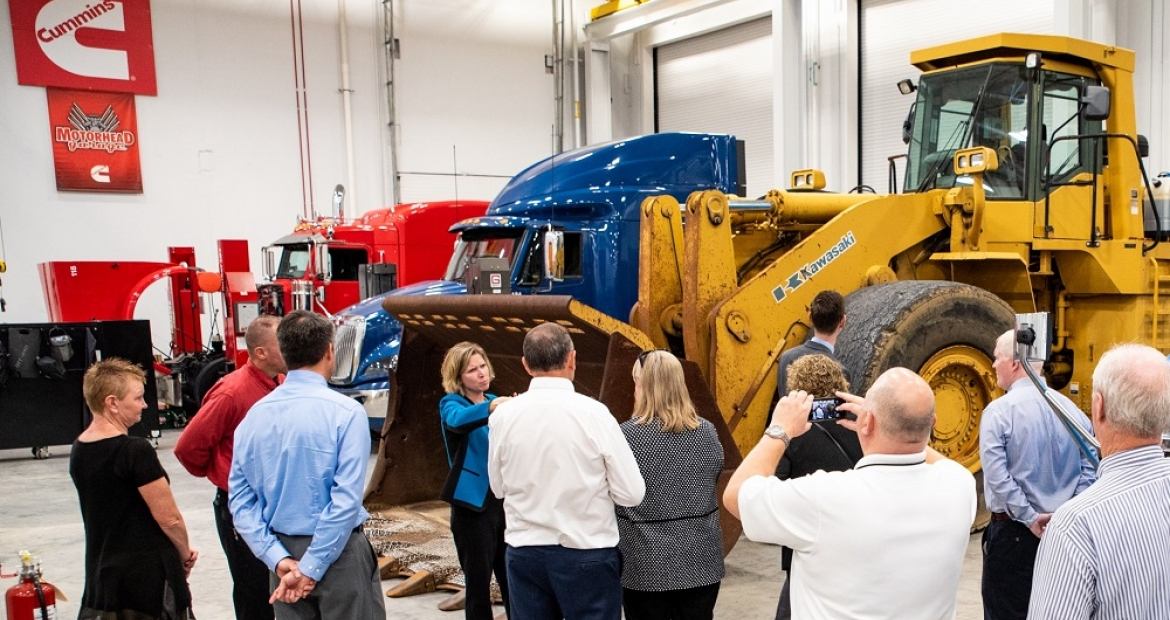 Vice President and Chief Technical Officer Jennifer Rumsey leads a tour at the new Cummins Machine Integration Center.