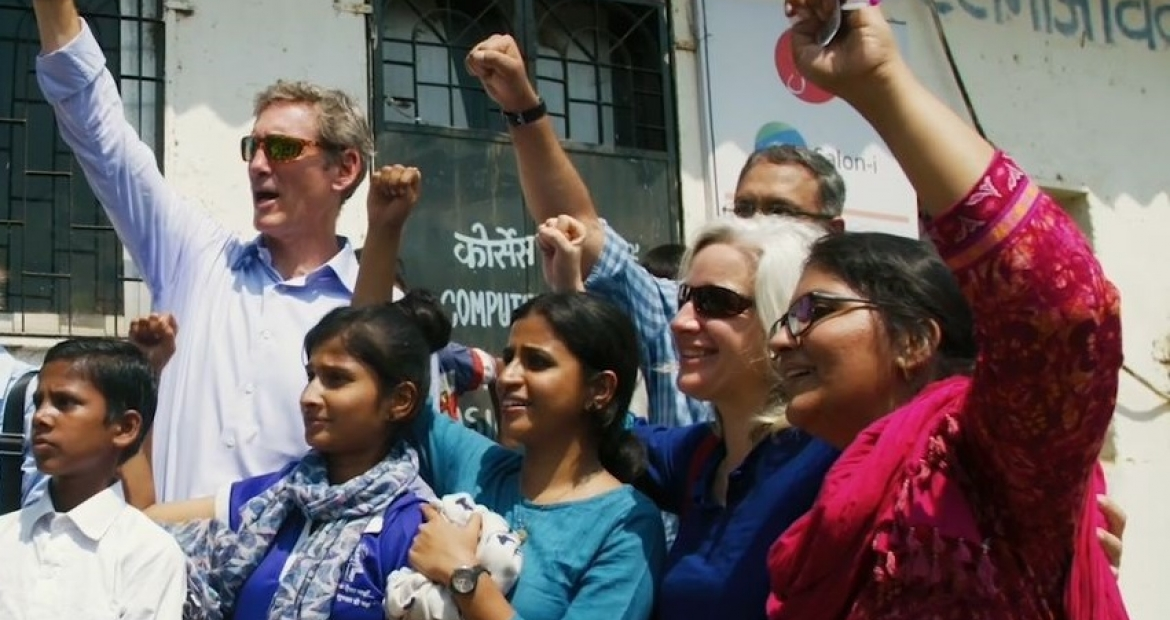 Cummins Chairman and CEO Tom Linebarger (second from left) visits with Cummins Powers Women participants in India.