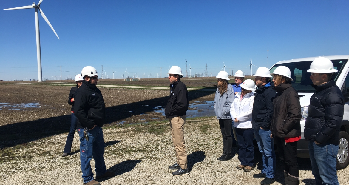 Cummins leaders meet with EDP Renewables officials at Meadow Lake Farm in northwest Indiana earlier in 2017.