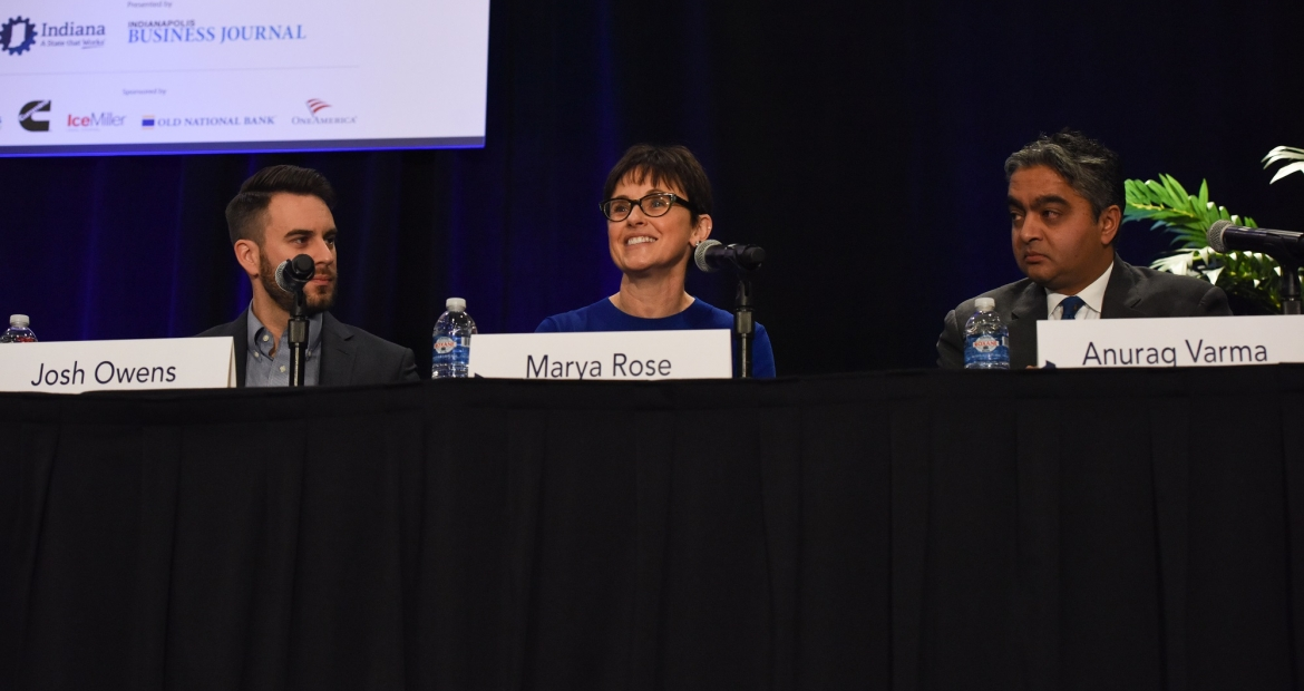 Chief Administrative Officer Marya Rose participates in a panel discussion on ways business can be a force for good (photos courtesy of the Indianapolis Business Journal).