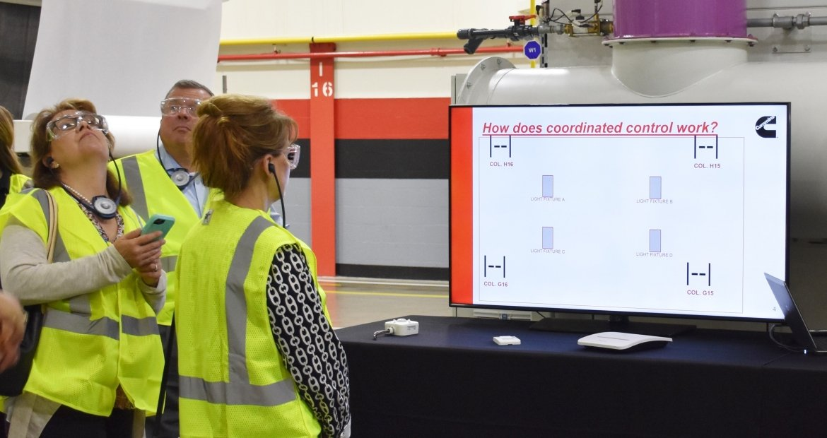 Cummins employees conduct a tour of the Jamestown Engine Plant in Jamestown, New York (U.S.A.) featuring its new LED lighting system. The plant has taken many steps to reduce the energy it uses and is participating in the Department of Energy's Better Buildings' Challenge.