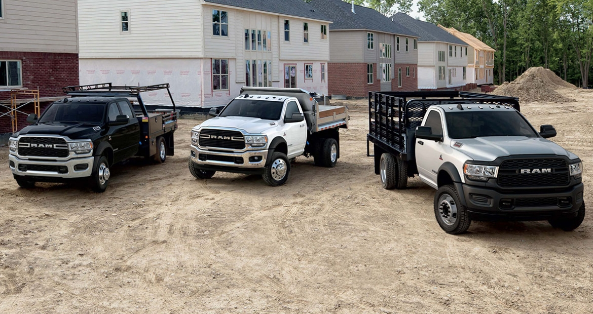 Lineup of RAM trucks with Cummins 6.7 engine