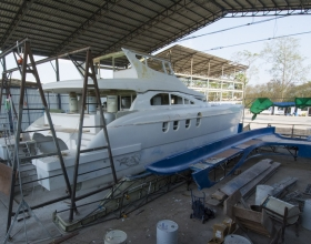 1.	The 20-meter catamaran currently under construction in the company's Thailand facility.