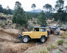 The Clean Cruiser Project's re-powered Land Cruisers with Pico de Orizaba in the background on what would be a harrowing trip up the mountain.