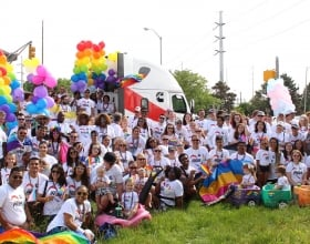 Cummins employees show their support for the LGBTQ community at the 2019 Pride parade in Indianapolis.