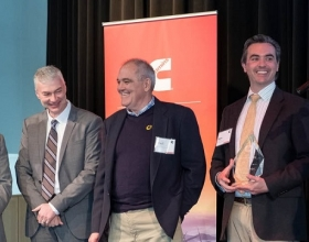 The winning team from BBC Pump and Equipment Co. Inc. is joined on stage by Cummins' Denis Ford (far left) and Jim Gruwell (second from left) at the first Cummins U.S. Innovation Gateway.