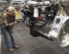 A Cummins employee inspects an engine at the company's Jamestown Engine Plant in Jamestown, New York (USA). The plant, which produces several engine models, is nearing the production of its 2 millionth engine.