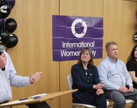 Chief Technical Officer Jim Fier speaks at an International Women's Day event in 2020, shortly before the pandemic fully hit the company.