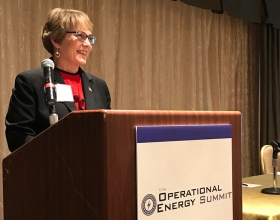 Cummins was an event sponsor and provided two speakers (pictured here is Doreen Swanson) for the 11th annual Operational Energy Summit in Washington, D.C.
