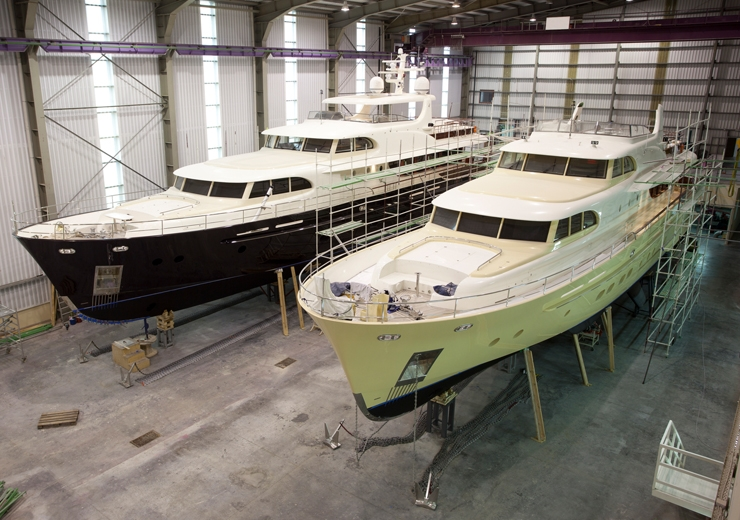 yachts in mid-build