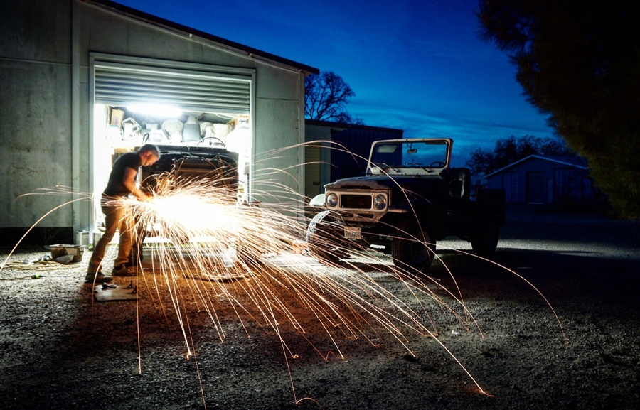 sparks flying outside workshop