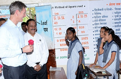 cummins executives meeting with girls in india school