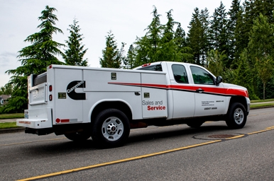 cummins service vehicle on the road