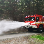Tatra forest fire truck in action